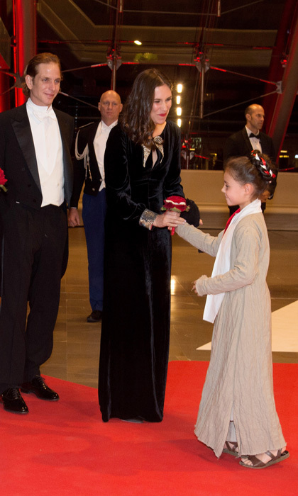 Tatiana Santo Domingo was presented with a red bouquet upon her and her husband, Andrea Casiraghi's arrival to the National Day Gala. 