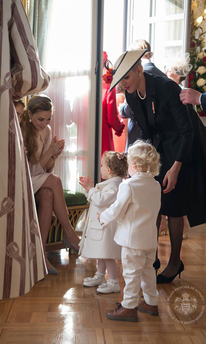 Mom-to-be, Beatrice Borromeo, got some practice with children, playing with the Monaco twins on National Day. 