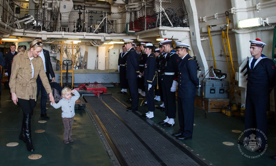 Prince Jacques gave a royal salute to naval men and women, while visiting the French frigate Guépratte with his mom, Princess Charlene, in honor of Monaco's National Day.