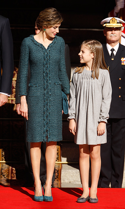 Spain's Queen Letizia pulled this fitted half-tweed dress by Felipe Varela out of her closet for the opening ceremony of the term of office held at the Lower House in Madrid, Spain. 