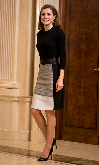 Queen Letizia looks sophisticated in this BOSS ensemble for an audience at Zarzuela Palace.