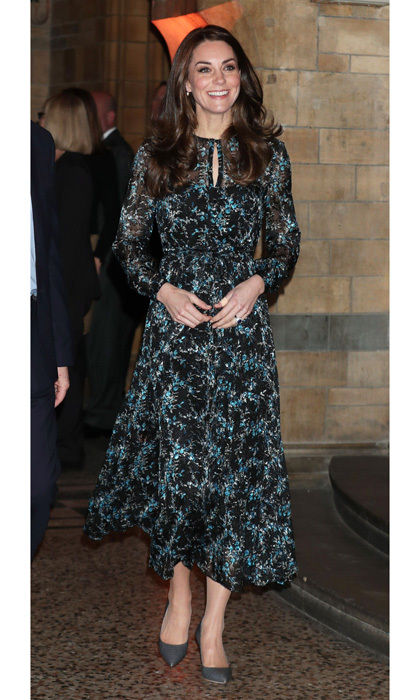 Kate Middleton looked effortlessly chic stepping out to the Natural History Museum in London. The Duchess wore a key-hole detail dress by L.K. Bennett for an afternoon of dinosaur activities with schoolchildren. Prince George's mom accessorized her silk midi dress with grey pumps and wore her glossy locks down.