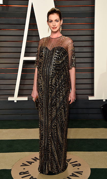"<a href=""http://us.hellomagazine.com/tags/1/anne-hathaway/""><strong>Anne Hathaway</strong></a> arrived at the 2016 Vanity Fair Oscar Party on February 28, 2016 exuding Elizabeth Taylor vibes in a sheer embellished gown. Anne and husband Adam Shulman welcomed their baby boy Jonathan in March 2016.