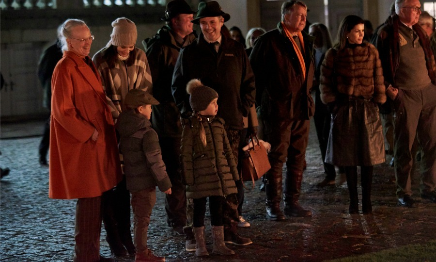 The Danish royals including, Crown Princess Mary, Prince Frederik, Princess Josephine, Prince Vincent and Queen Margrethe got in the holiday spirit during the royal hunting parade. 