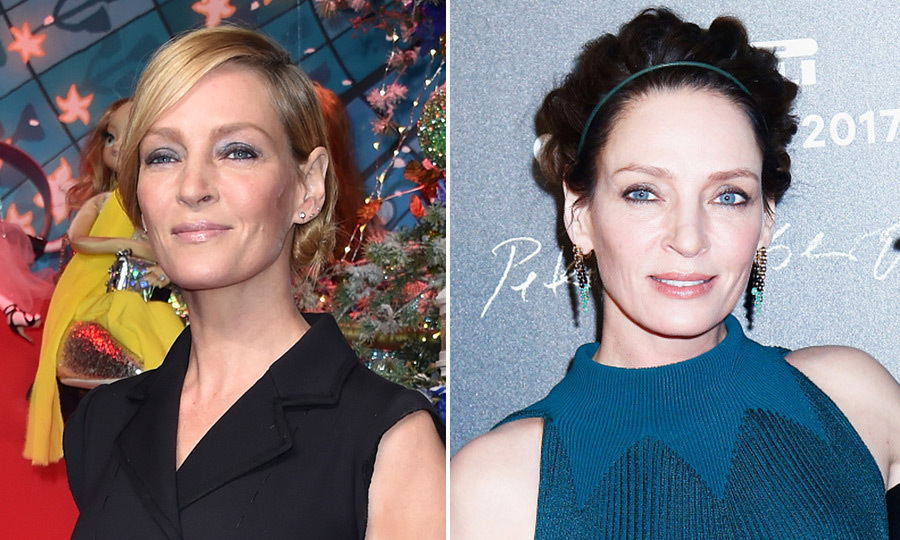 "<a href=""http://us.hellomagazine.com/tags/1/uma-thurman/""><strong>Uma Thurman</strong></a>'s dark hair made her eyes pop when she debuted the look, right, at the Pirelli calendar launch in November 2016.