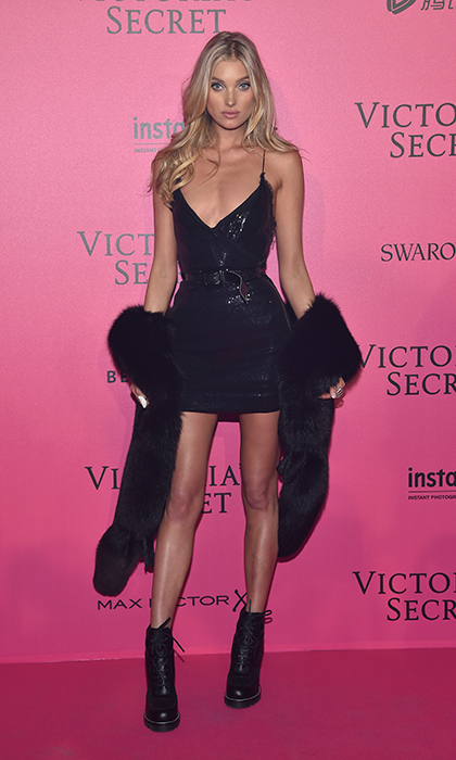 November 30: Elsa Hosk looked radiant in a figure hugging LBD with a fur shawl at the 2016 Victoria's Secret Fashion Show after party in Paris. 
