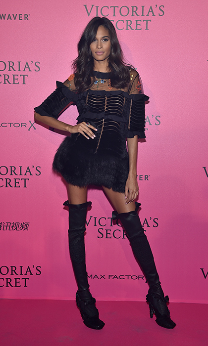 November 30: Cindy Bruna showed off her long legs in thigh high booties at the 2016 Victoria's Secret Fashion Show after party in Paris. 