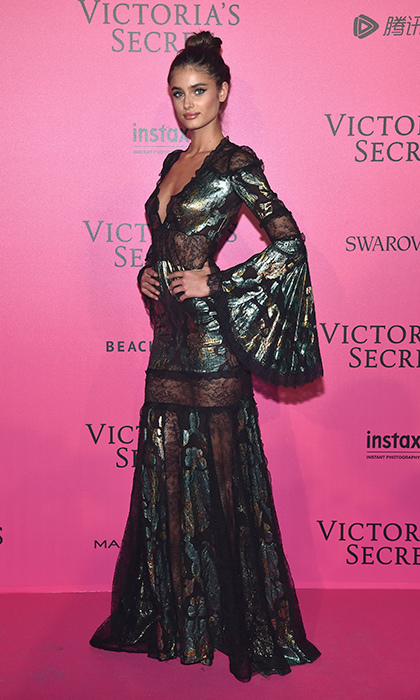 November 30: Taylor Hill channeled gothic vibes for the 2016 Victoria's Secret Fashion Show after party in Paris. 