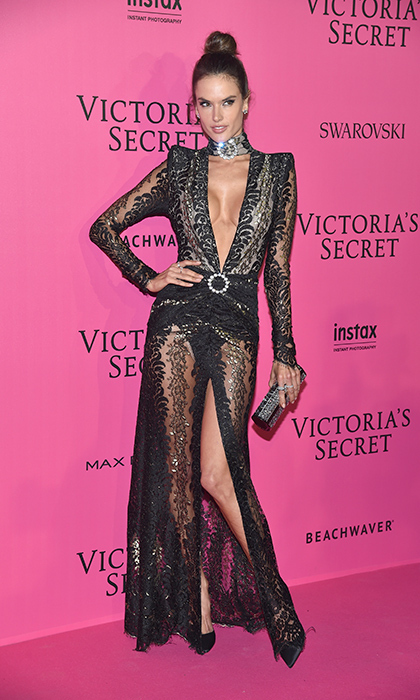 November 30: Alessandra Ambrosio wore a sheer dress with a thigh split for the 2016 Victoria's Secret Fashion Show after party in Paris. 