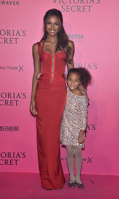 November 30: Jasmine Tookes and a little guest took to the pink carpet in style at the 2016 Victoria's Secret Fashion Show after party in Paris.