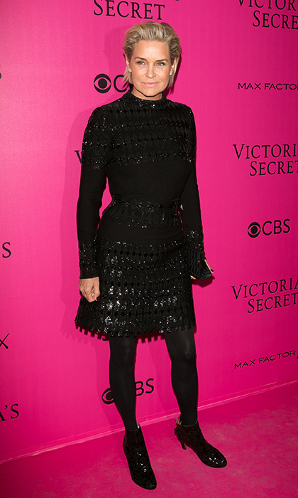 November 30: Proud mom Yolanda Hadid was  sleek in a black embellished dress to watch her daughters Bella and Gigi at the 2016 Victoria's Secret Fashion Show Pink carpet photocall at Le Grand Palais in Paris, France. 