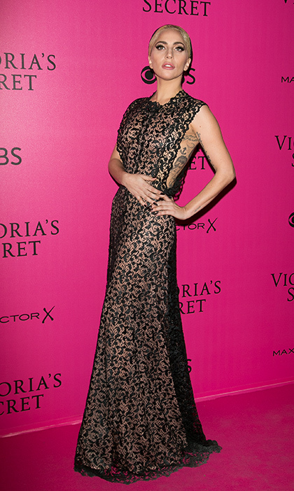 November 30: Lady Gaga donned a floor length lace gown at the 2016 Victoria's Secret Fashion Show' pink carpet photocall at Le Grand Palais in Paris. 