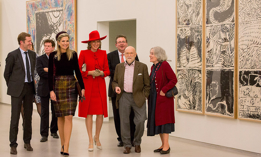 It was another stylish outing for Queen Mathilde (in red) and Queen Maxima. The royals visited the Pierre Alechinsky Post Cobra exhibition at the Cobra Museum on the second day of the Belgian royals' visit to the Netherlands. 