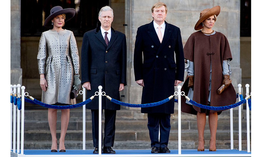 King Philippe and Queen Mathilde of Belgium (left) traveled to Holland on a three-day state trip. The royals were greeted by King Willem-Alexander and Queen Maxima of the Netherlands and received an official welcome ceremony at Amsterdam's Dam Square.