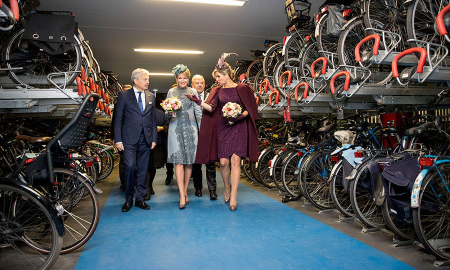 Maxima and Mathilde viewed bikes on the last day of the Belgian monarchs' visit to Holland. The women visited the Sligro Food Group Netherlands B.V. and attended the opening of the inspiratielab ZiN in Utrecht.