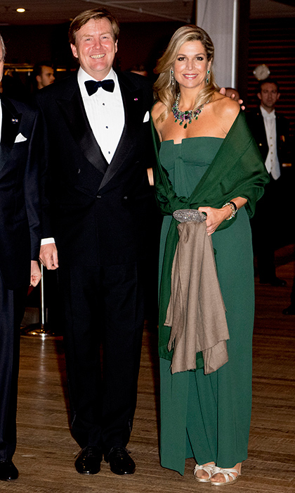 Queen Maxima looked gorgeous in a green, full-length gown, beside her husband  King Willem-Alexander at a concert in The Hague, Netherlands. 