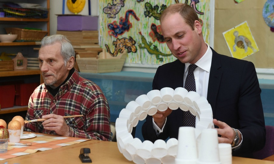 Prince William showed off his artistic side and revealed  how crafty wife Kate Middleton is during his visit to the  Padley Development Centre in Derby.
