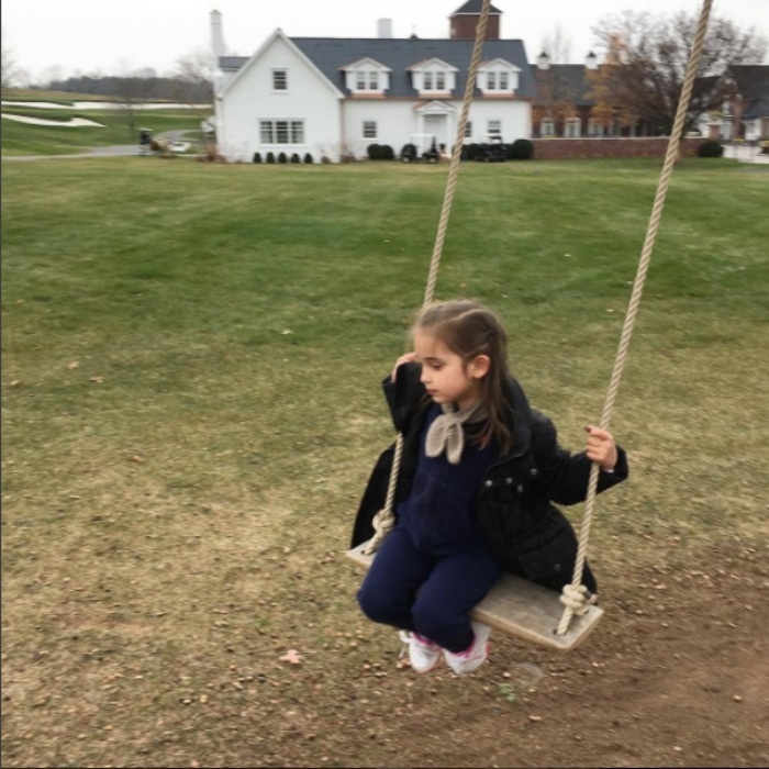 "Arabella went swinging into the Thanksgiving weekend. The businesswoman shared a photo of her little girl, writing, ""Swinging into the weekend #thanksgiving.""