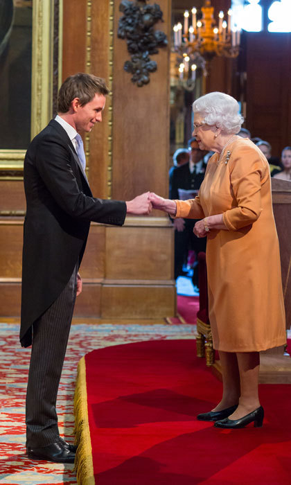 Queen Elizabeth welcomed Oscar winner Eddie Redmayne  to Windsor Castle on December 2. There, the <i>Fantastic Beasts</i> actor was honored with the Officer of the Most Excellent Order of the British Empire award (OBE) for his services to drama.