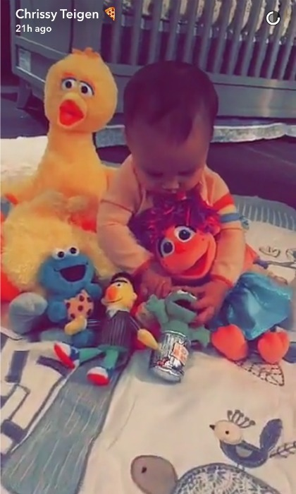 Luna Stephens spent some quality time with her new squad of members from Sesame Street, after getting a special shout out from Elmo and the gang while her daddy John Legend filmed a segment. 