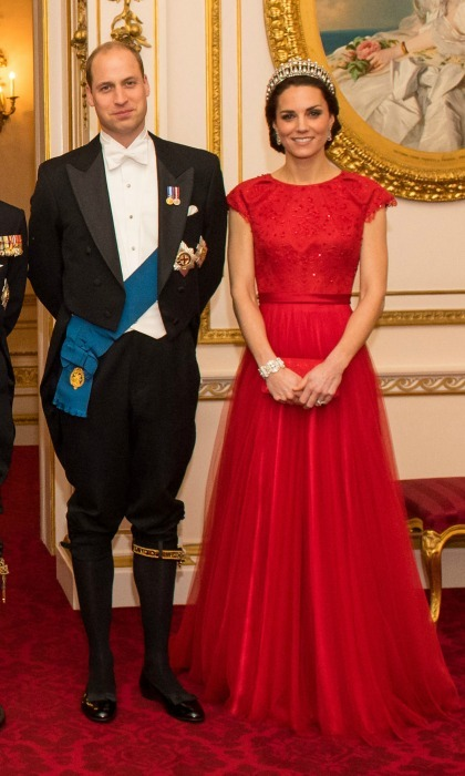 Kate was a stand out in a red gown by Jenny Packham during the annual Diplomatic Reception at Buckingham Palace in December 2016. The Duchess finished off the elegant look with Princess Diana's Cambridge Lover's Knot Tiara.