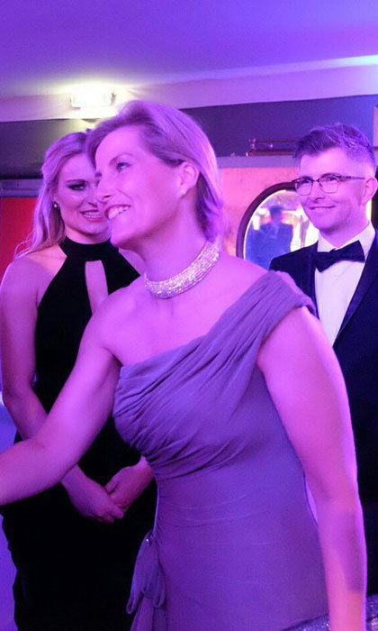 Sophie Wessex stunned in a one-shoulder gown and diamond choker necklace at the Golden Hockey Ball, where she met with Olympians.