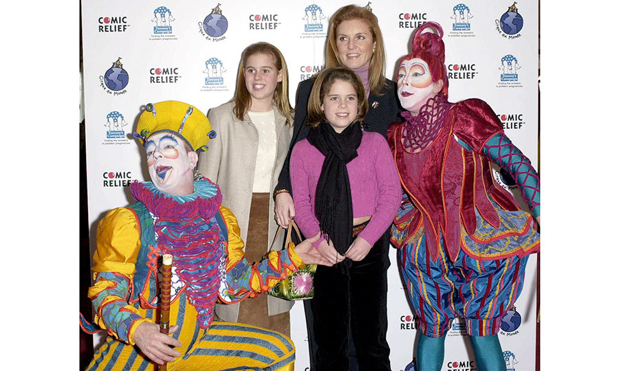 It was ladies' night out for Sarah and her young daughters. The royal trio posed with clowns during an outing to see the Cirque Du Soleil Circus in London.