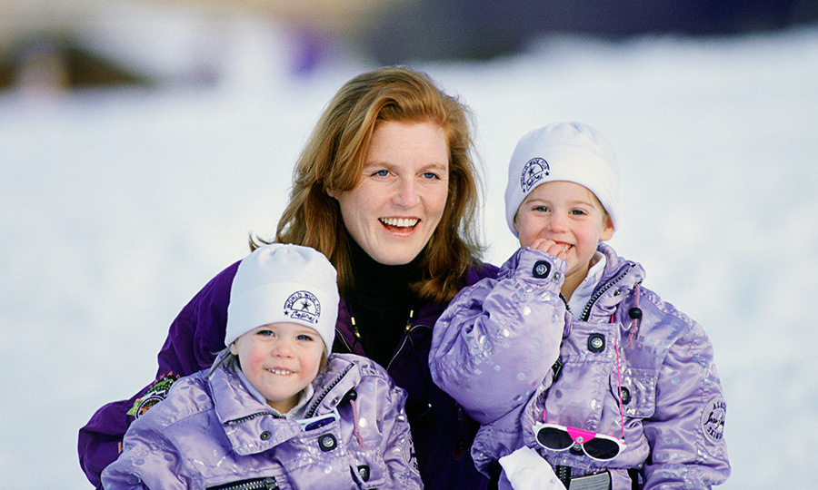 The Duchess of York played in the snow with her little snow bunnies during a trip to the Klosters, Switzerland.
