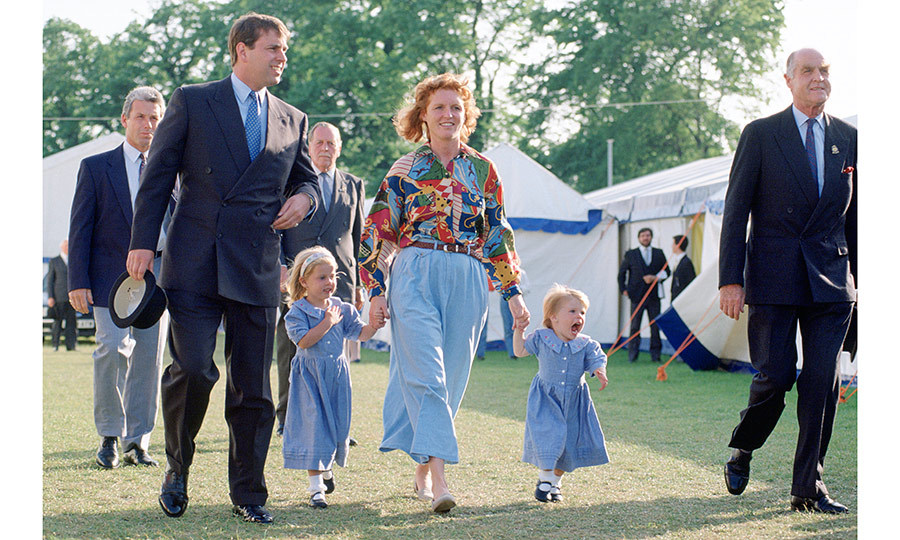 Sarah, Duchess of York, was coordinating in chambray with her little girls at the Windsor Horse Show. 