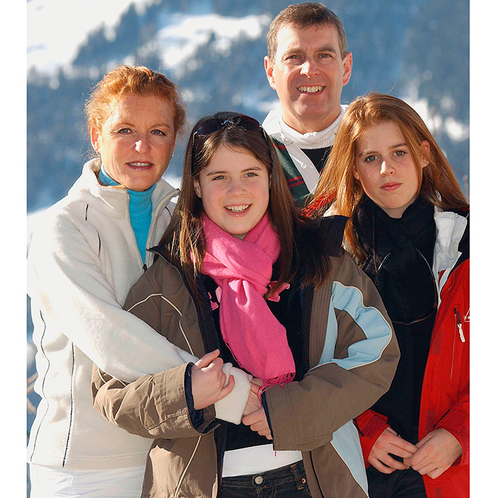 Sarah Ferguson joined her ex-husband Prince Andrew and their daughters Princess Eugenie and Princess Beatrice on a 2003 ski holiday at Verbier, Switzerland. 