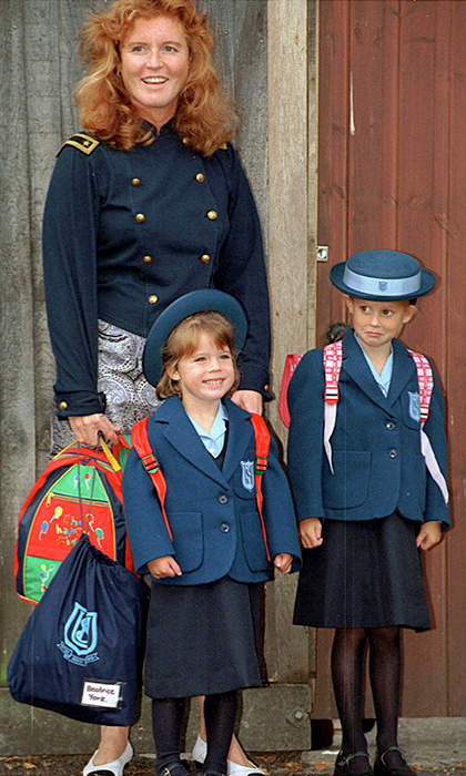 Proud mom Sarah accompanied Princess Beatrice and Princess Eugenie, on her first day of school, to Upton House School in Windsor.