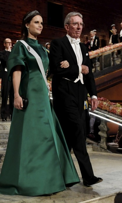 Princess Sofia chose an emerald-green satin gown and the Other Steel-Cut tiara for the Nobel Prize banquet in Stockholm.