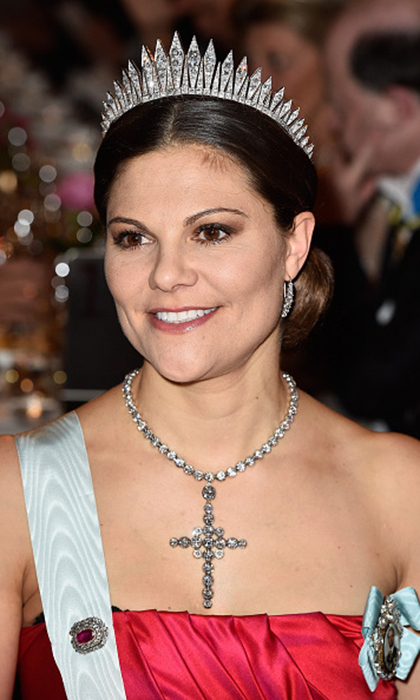Crown Princess Victoria has been spotted smiling in the 19th century Baden fringe tiara on several formal occasions. The strong design is one of our faves.