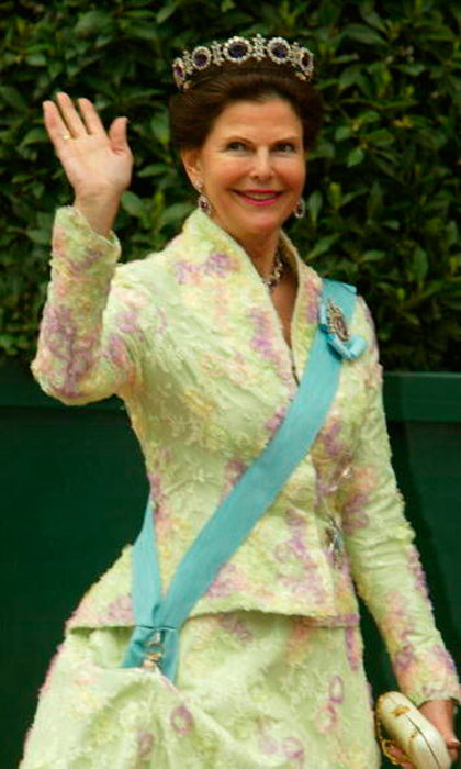 Queen Silvia of Sweden has premiered the largest variety of designs in our royal survey. She waves above in a stunning blue amethyst tiara trimmed in diamonds.