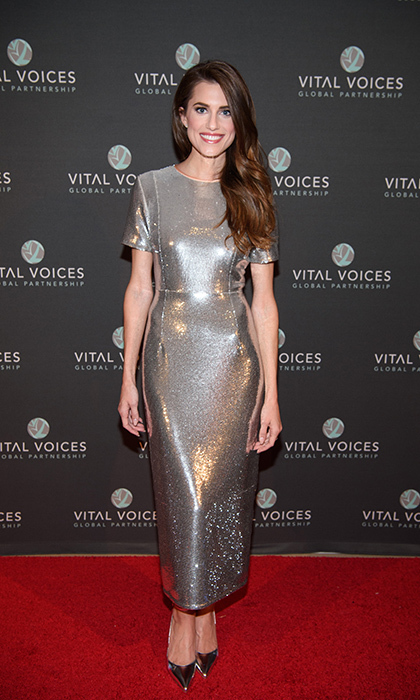 "<a href=""http://us.hellomagazine.com/tags/1/allison-williams/""><strong>Allison Williams</strong></a> shimmered in a Diane Von Furstenburg dress for the Voices of Solidarity 2016 gala at IAC HQ on December 5, 2016 in New York City. 