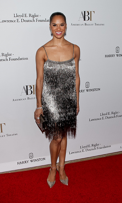 "<a href=""http://us.hellomagazine.com/tags/1/misty-copeland/""><strong>Misty Copeland</strong></a> wore a metallic ombre fringe flapper-style dress for the American Ballet Theatre annual Holiday Benefit at The Beverly Hilton Hotel on December 5, 2016. 