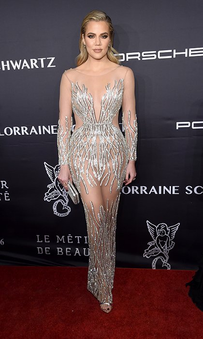 "<a href=""http://us.hellomagazine.com/tags/1/khloe-kardashian/""><strong>Khloe Kardashian</strong></a> braved the chill in an embellished sheer-and-silver sheer gown at the 2016 Angel Ball on November 21, 2016 in New York City. 