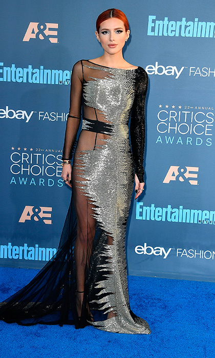 "<a href=""http://us.hellomagazine.com/tags/1/bella-thorne/""><strong>Bella Thorne</strong></a> donned a Steven Khalil Couture gown and Stuart Weitzman shoes as she arrived at the The 22nd Annual Critics' Choice Awards at Barker Hangar on December 11, 2016 in Santa Monica, California. 