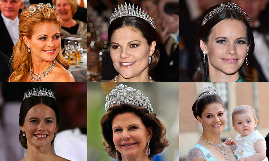 Diamonds are a royal's best friend! Here we give all the details on the precious headpieces worn by Swedish royals Queen Silvia, Crown Princess Victoria, Princess Madeleine and Princess Sofia.