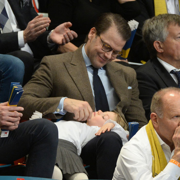 December 2016: A real-life (little) sleeping beauty. Princess Estelle of Sweden stepped on December 4 with her father Prince Daniel for the opening ceremony of the European Women's Handball Championships, where she fell asleep! 