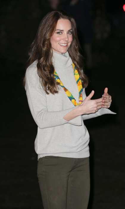 The Duchess of Cambridge traded her tiara and gown for a more casual ensemble to meet with cub scouts from the Kings Lynn District.
