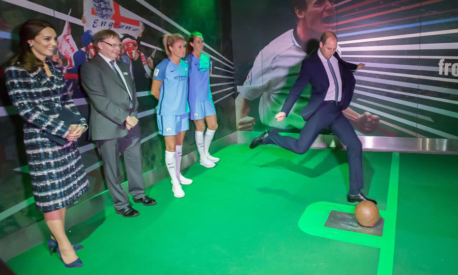 Bend it like Beckham - or Cambridge! The Duke showed off his soccer skills at the National Football Museum, where he participated in a computer-generated penalty shoot-out game.