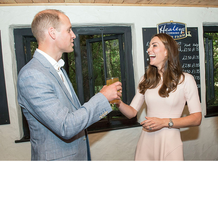 "Cheers! The Duchess of Cambridge laughed as she presented her husband with a pint of cider from Healey's Cornish Cider Farm during their mini-tour of Cornwall. After drinking the cider she poured, William said it tasted ""just like it does in the pub."" 