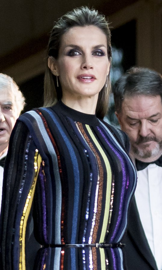 Spain's Queen Letizia made headlines with her unabashedly glam look – a smoky eye, glossy lips and slicked back hair – for the ABC Awards in Madrid on December 13.