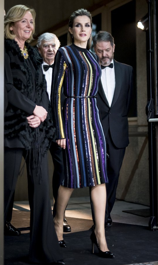 Queen Letizia of Spain seemed to be aspiring for the title of most glamorous royal in the world when she stepped out in a sparkling striped Nina Ricci Resort 2017 dress for the ABC Awards in Madrid on December 13.