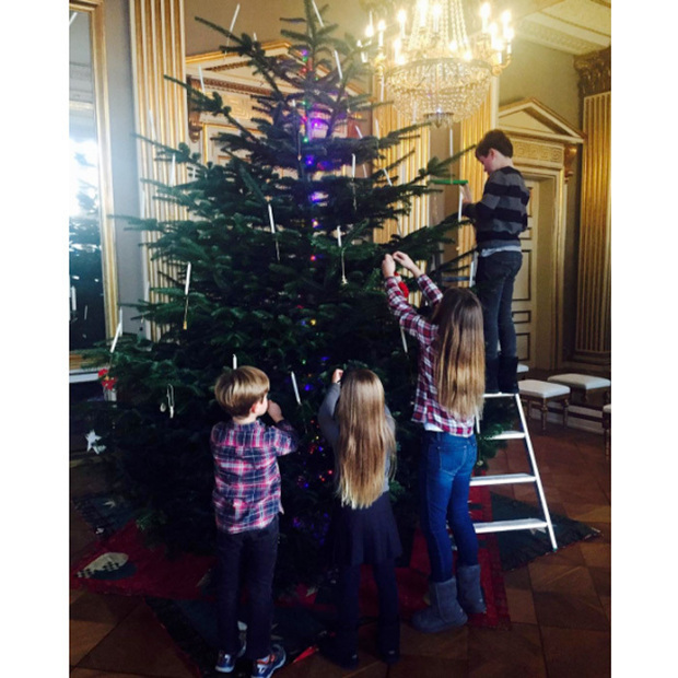 Prince Christian, Princess Isabella and twins Prince Vincent and Princess Josephine of Denmark got into the holiday spirit decorating their Christmas tree at their winter home of Amalienborg Palace in Copenhagen.