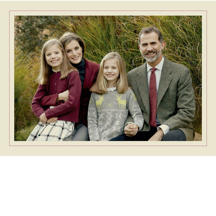 "King Felipe VI and Queen Letizia celebrated the holidays with a sweet family Christmas card featuring their two daughters, Princess Leonor and Infanta Sofia. ""Merry Christmas and Happy New Year 2017,"" the greeting read in Spanish and English with the four royals' handwritten signatures signed below.
