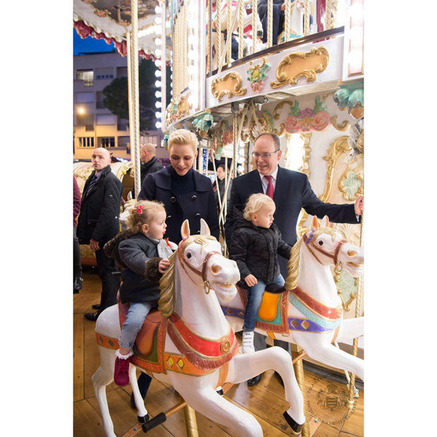 Prince Jacques and Princess Gabriella paid a visit to Monaco's Christmas Village with their parents – Princess Charlene and Prince Albert – where they watched street performers and rode on a merry-go-round.