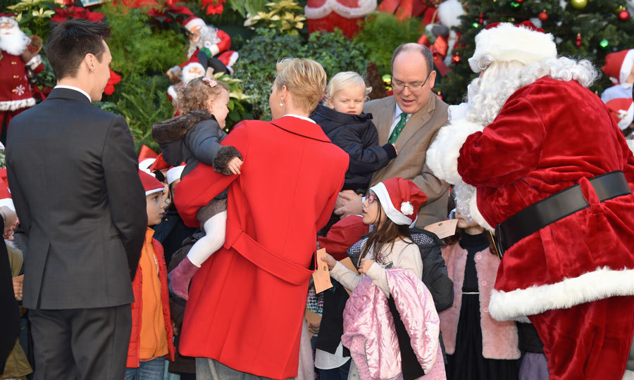 Prince Jacques and Princess Gabriella made their debut at Monaco's annual children's Christmas ceremony, though the little Princess left early after being scared by a white rabbit and Santa.