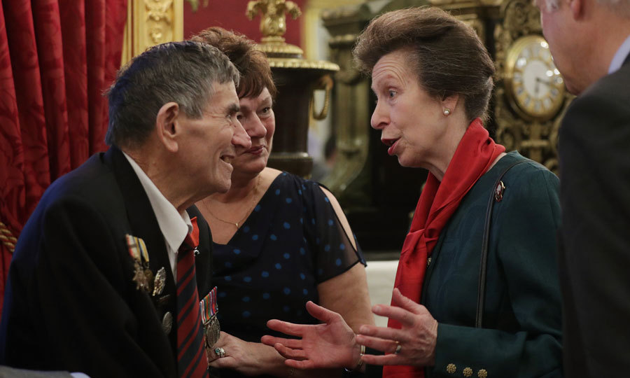 Princess Anne hosted a Christmas tea party at St. James's Palace for one of her patronages, The Not Forgotten charity, which supports 10,000 serving and ex-service men and women.